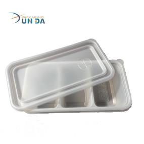 Plastic PP PS PET Disposable 3 Dividers Food Tray With Lid
