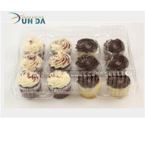 Clear Plastic Cupcake Boxes With Hinged Lid SGS/FDA Approval